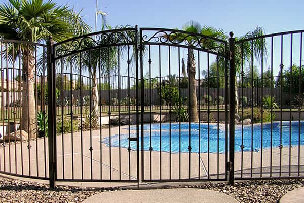 Decorative wrought iron pool fencing phoenix sun king