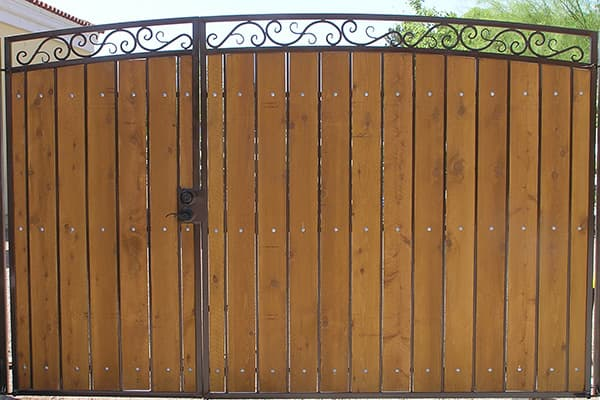 Decorative RV Gate with Walk Gate Stained and Sealed Wood