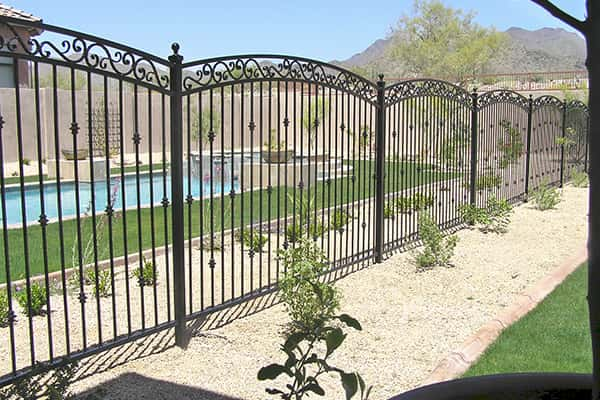 Black Arched 3 Rail Pool Fencing with Scrolls