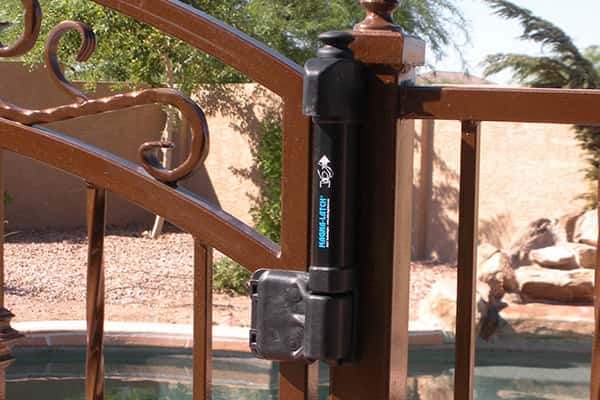 Magna-Latch on an Iron Pool Safety Fence and Gate