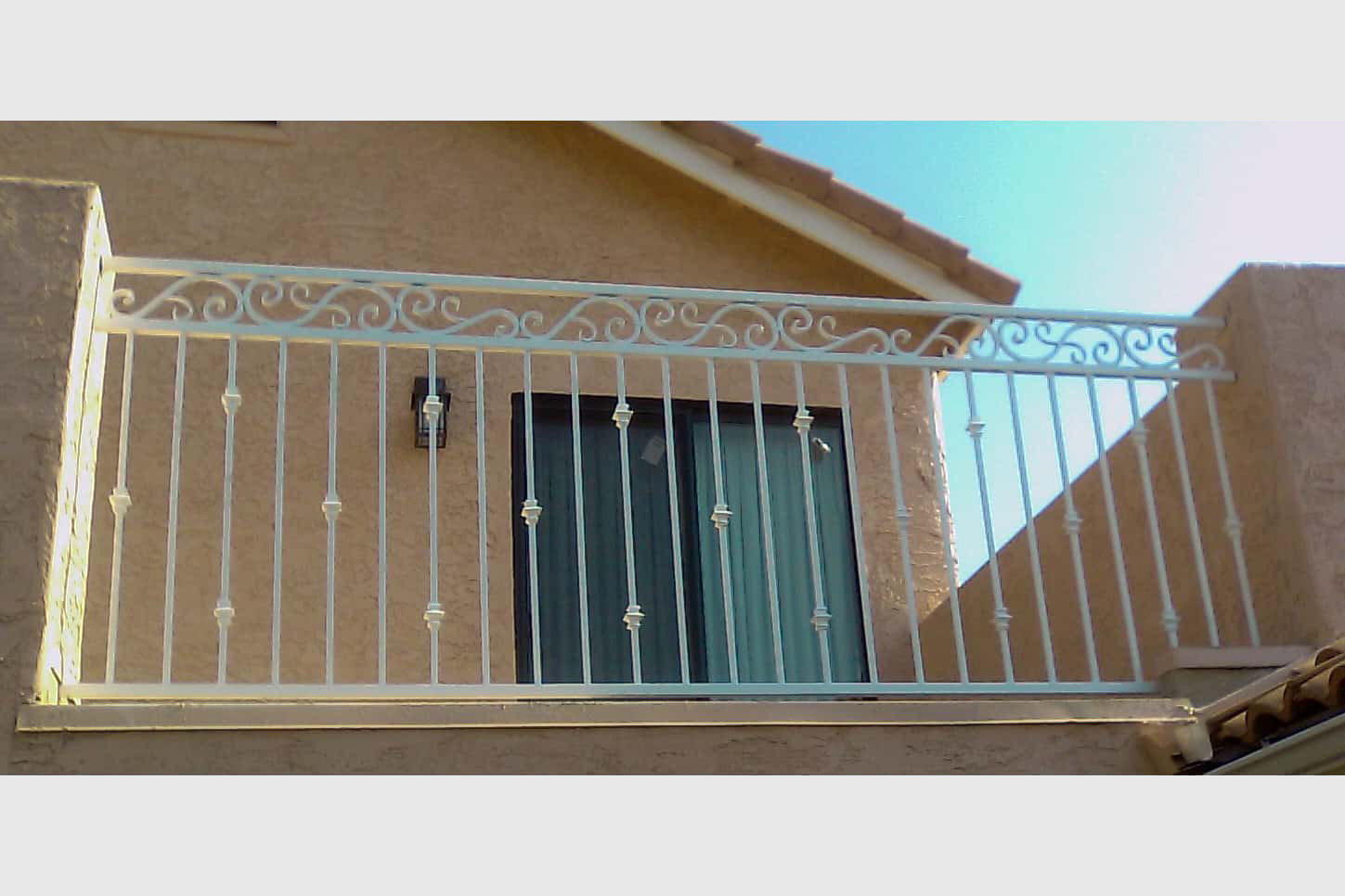 3-Rail Ornamental Iron Deck Railing
