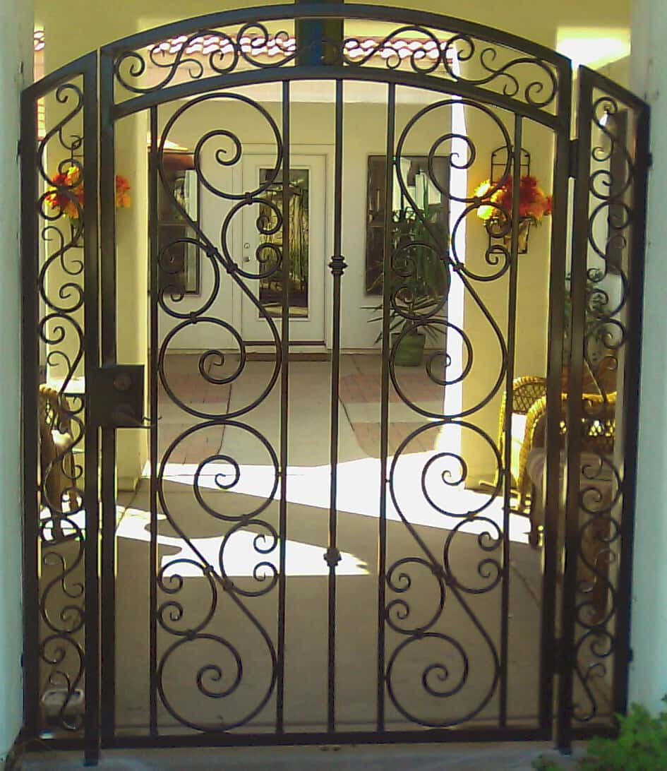 Decorative wrought iron gate examples sun king fencing