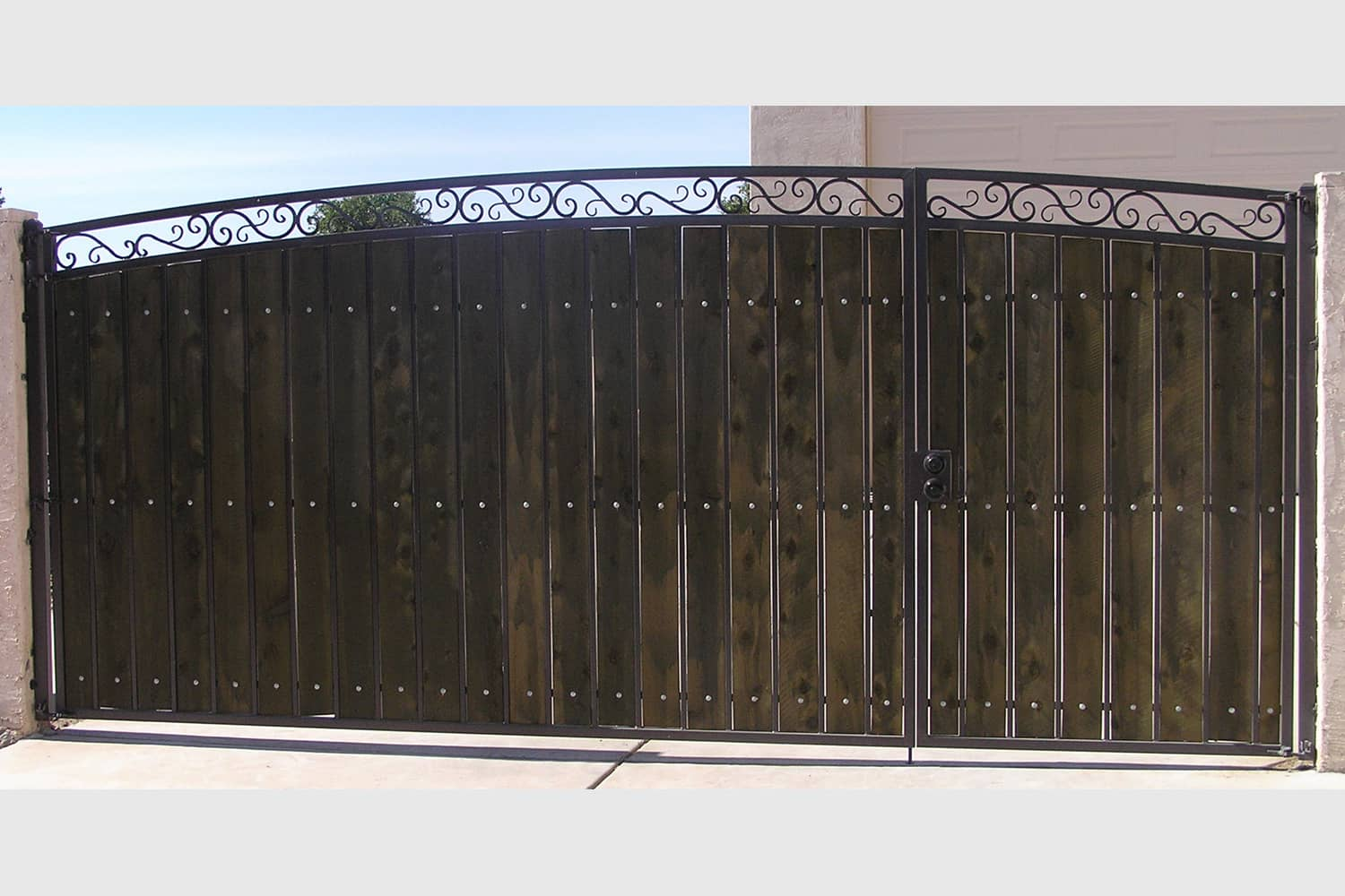 Decorative RV Gate with Dark Stained and Sealed Wood