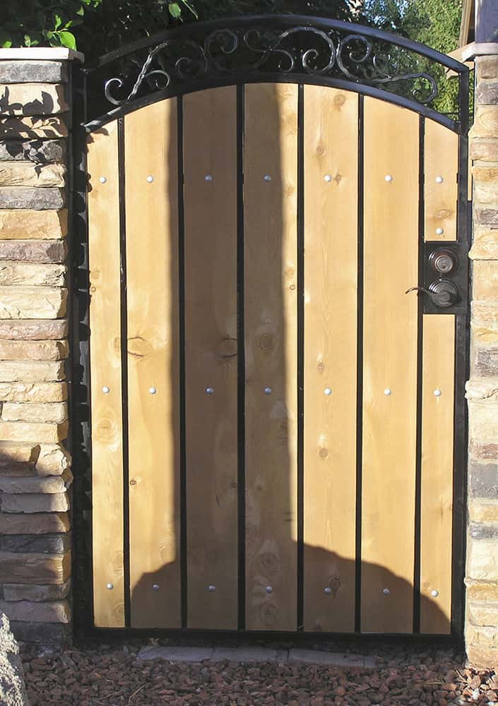 Iron wood gate examples sun king fencing gates
