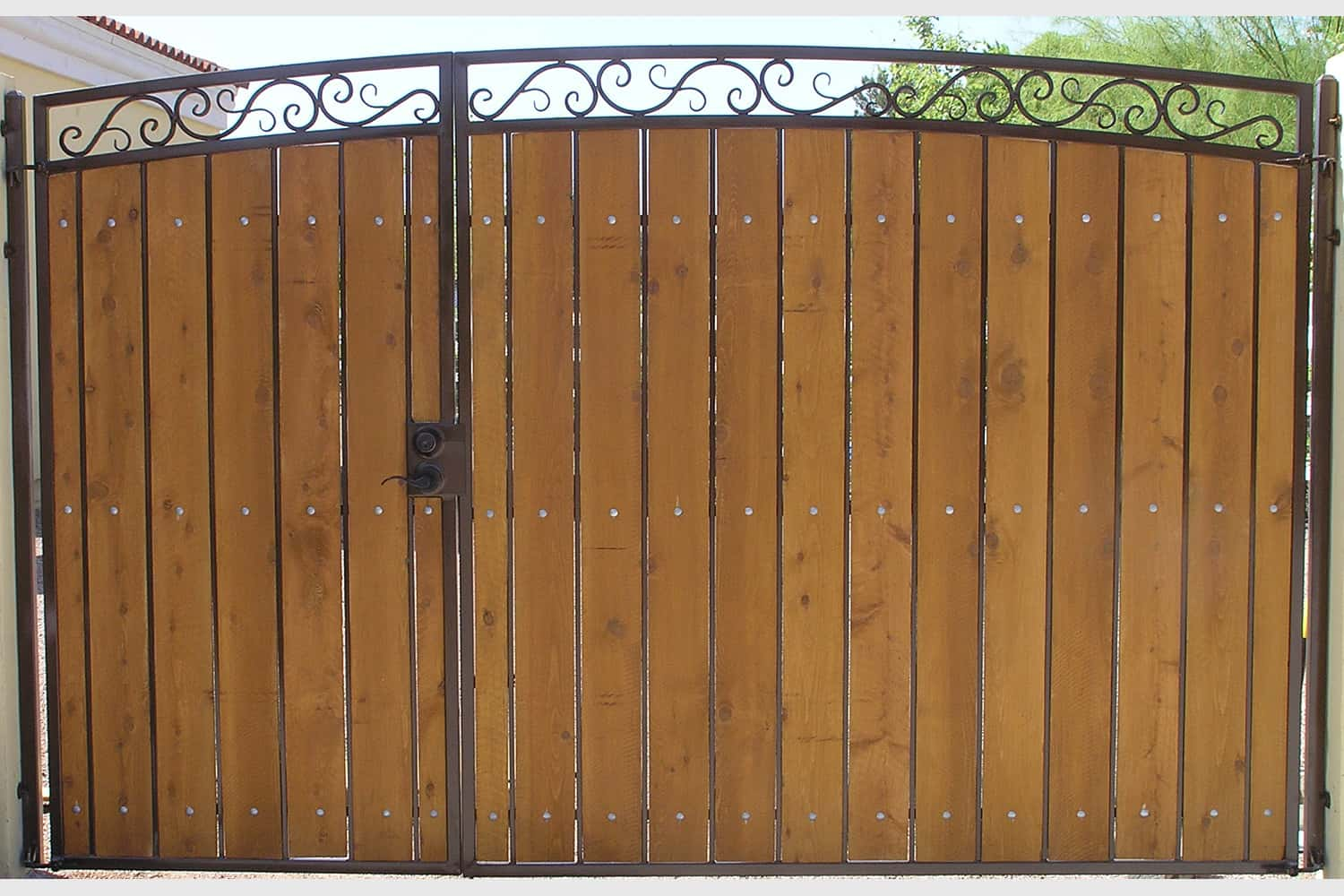 Decorative Arched RV Gate with Stained and Sealed Wood